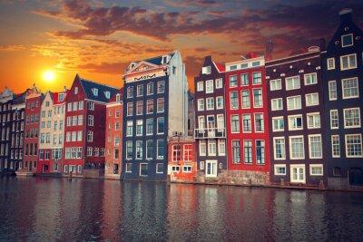 Póster Una de las ciudades europeas más famosas de Amsterdam. La capital