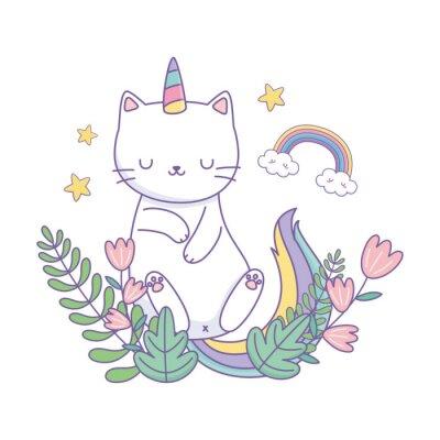 Póster Unicorn cat cartoon vector design