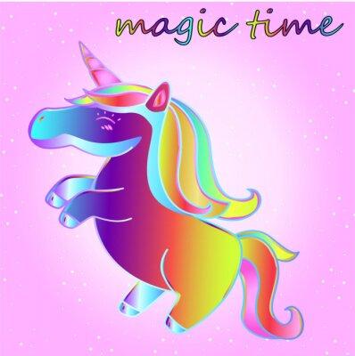 Póster unicornio de neón de dibujos animados con estrellas sobre un fondo degradado de color rosa - un tiempo de aventura y un tiempo de magia