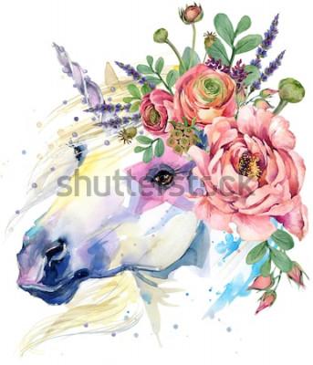 Póster unicornio. Ilustración de ramo de flores de acuarela. Fondo de fantasía caballo blanco.
