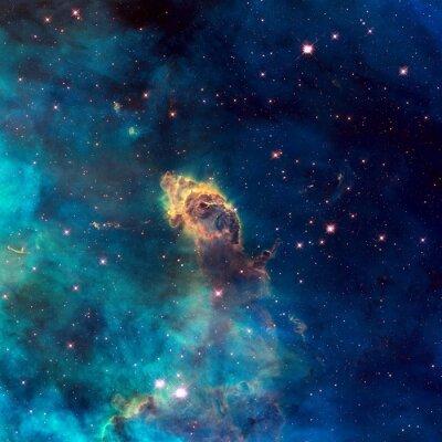 Póster Universo lleno de chorro estelar, estrellas, nebulosa y galaxia.