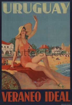 Póster Uruguay, Veraneo Ideal. El cartel de viaje de la década de 1930 muestra una belleza de baño en la playa.