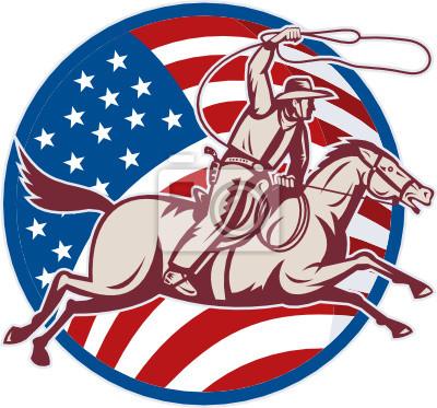 Vaquero del rodeo en caballo con la bandera americana y de lazo
