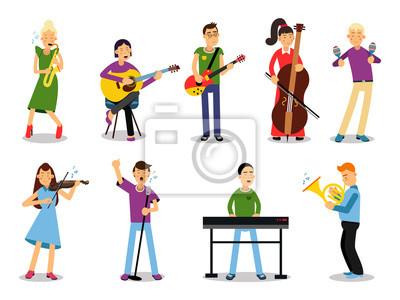 40d02016c Póster: Varios músicos, personajes en estilo plano ilustración vectorial