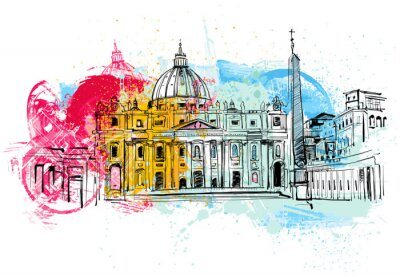 Póster Vaticano Sketch