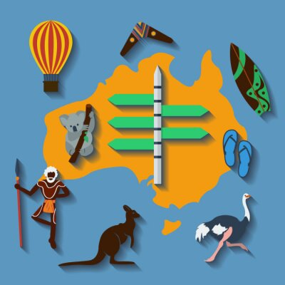 Póster Vector australia travel flat color