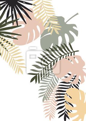 Póster Vector bandera vertical tropical con monstera y otras hojas planas tropicales. Diseño de fondo exóticas. Puede ser utilizado como boda o un fondo del verano. Mejor para el papel pintado, tela