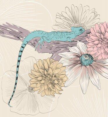 Póster Vector boceto de lagarto con flores lindas