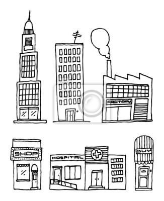 Vector ciudad edificios  tinta de dibujo carteles para la pared