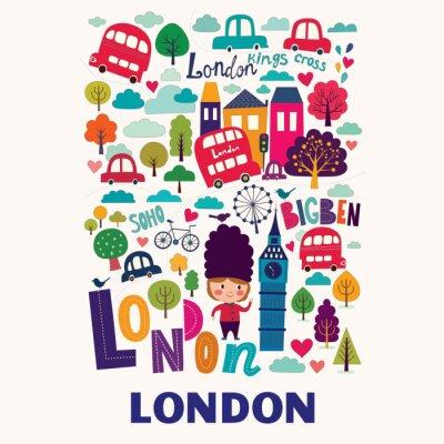 Póster Vector colorido patrón con símbolos de Londres