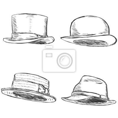 Poster Vector Conjunto De 4 Sketch Sombreros