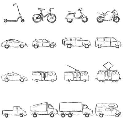 Vector Conjunto De Dibujo Transporte Terrestre Icons Carteles Para