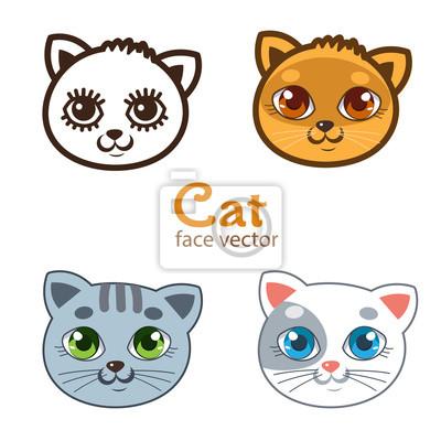 ffc18aa1779b7 Póster Vector Conjunto De Diversos Gatos De Dibujos Animados. Animales De Dibujos  Animados Icono De