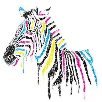 Póster Vector de cebra con rayas de colores, el estilo de dibujo
