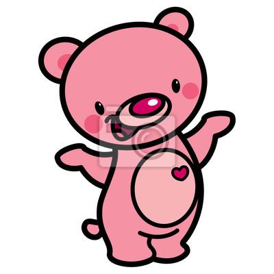 Vector De Dibujos Animados De Color Rosa Feliz Oso Encantador