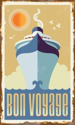Póster Vector de diseño retro barco de cruceros del vintage - cartel de la muestra del metal