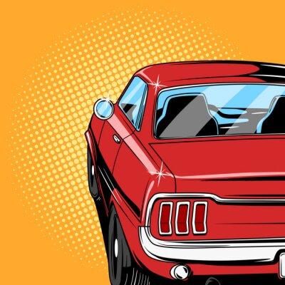 Póster Vector de estilo de cómic de coche rojo