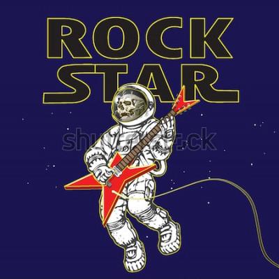 Póster Vector de la imagen de un astronauta en la imagen de un músico de rock en el espacio exterior en el estilo de gráficos de dibujos animados