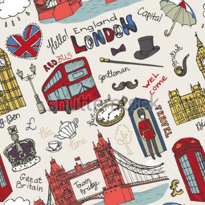 Póster Vector de la señal de Londres, poniendo letras en el modelo correspondiente Mano del garabato dibujada incompleta Monumentos arquitectónicos famosos, muestra, símbolos. Iconos vintage de Inglaterra, f
