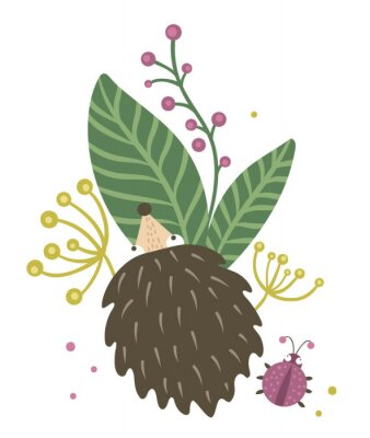 Póster Vector hand drawn flat hedgehog with berries, leaves and ladybug clip art. Funny autumn scene with prickly animal having fun. Cute woodland animalistic illustration for children's design, print