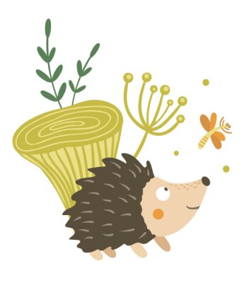 Póster Vector hand drawn flat hedgehog with mushroom and dragonfly clip art. Funny autumn scene with prickly animal having fun. Cute woodland animalistic illustration for children's design, print,