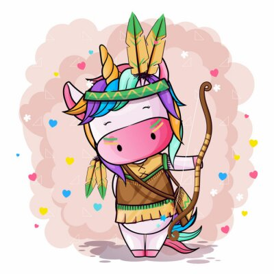 Póster Vector hand drawn illustration of a cute unicorn