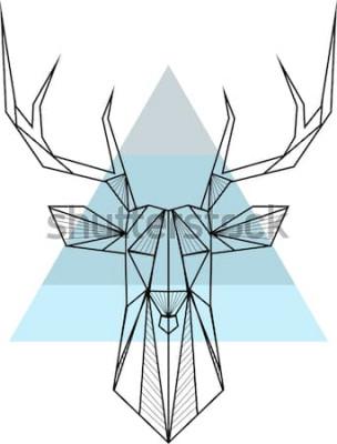 Póster Vector hipster fondo geométrico abstracto con ciervos