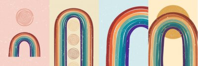 Póster Vector illustration. Abstract poster set. Contemporary backgrounds. Colorful rainbow. Design elements for book cover, page template, print, card, brochure, magazine, poster. 60s, 70s retro graphic