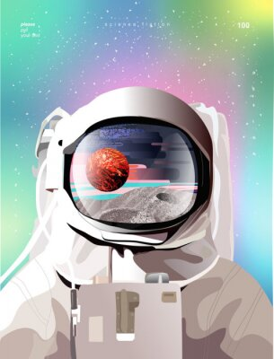 Póster Vector illustration of a portrait of an astronaut in a spacesuit in space with planets, gradient abstract background for a poster, banner or cover