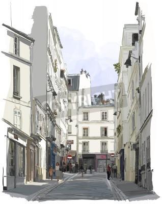 Póster Vector illustration of a street near Montmartre in Paris