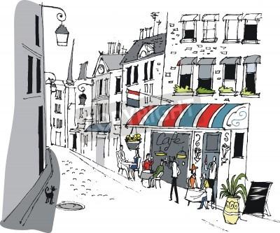 Póster Vector illustration of cafe in Paris, France.