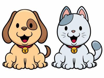 e12a3adb2ee8b Vector ilustración de dibujos animados del gato y perro carteles ...