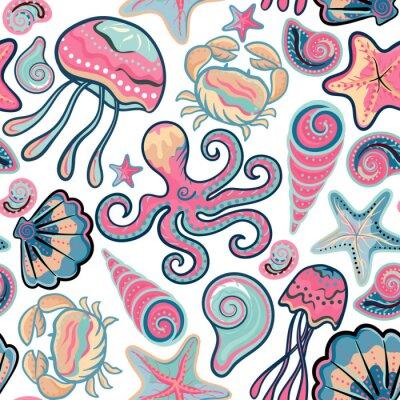 Póster Vector mano dibujado patrón sin fisuras con medusas, conchas, estrellas de mar, pulpos y cangrejos. Fondo del océano