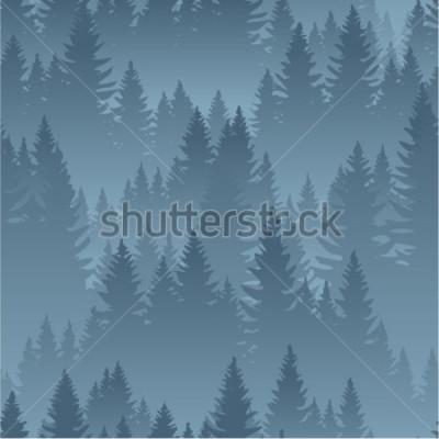Póster vector montañas bosque fondo textura de patrones sin fisuras