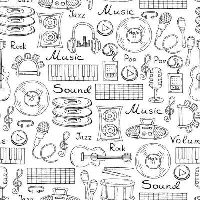 Póster Vector patrón con símbolos dibujados a mano de la música en el color blanco