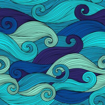 Póster Vector patrón transparente con ondas abstractas