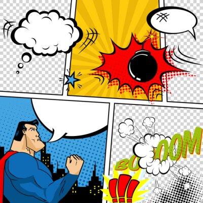 Póster Vector Retro Comic Burbujas libro habla Ilustración.