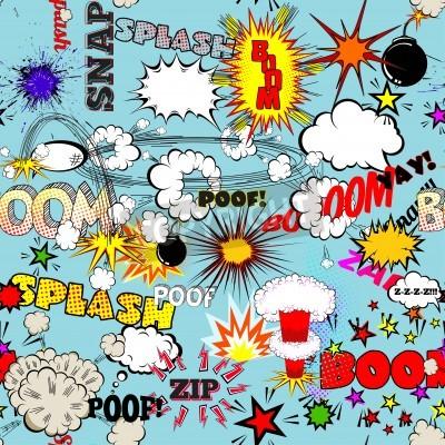 Póster Vector retro patrón sin fisuras con burbujas de discurso cómico, etiquetas, logotipos y las palabras de cómic