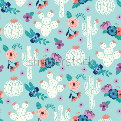 Póster Vector seamless pattern with hand drawn cactus and floral bouquets on a blue background