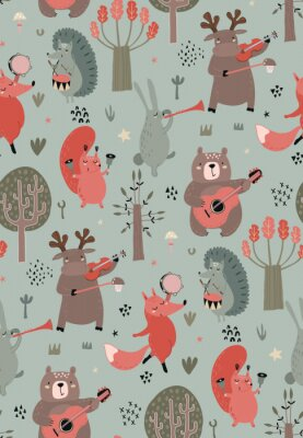 Póster Vector seamless pattern with hand drawn wild forest animals with musical instruments.