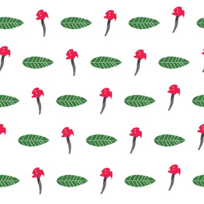 Póster Vector Seamless Repeat Pattern Red Mushroom and Green Leaf Nature Pattern