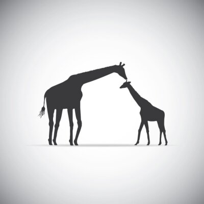 Póster Vector silueta de la madre jirafa con su bebé