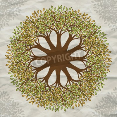 Póster Vector tree mandala background with grunge paper