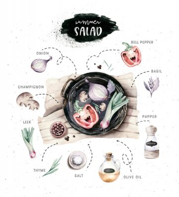Póster Vegetables healthy organic watercolor greens menu on black Cast-iron pan with bell pepper, leek, onion and avocado vitamin rosemary illustration. Isolated lettuce and radish. sketch eggplant mushroom.