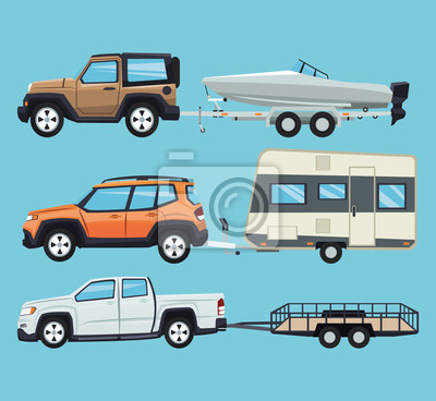 Vehículo con la casa del remolque y el icono del barco. Viaje de transporte y tema de viaje. Diseño colorido. Ilustración del vector