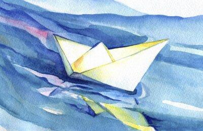 Póster Velas blancas del barco del papel en las ondas. Acuarela pintura de la nave y el agua de mar.