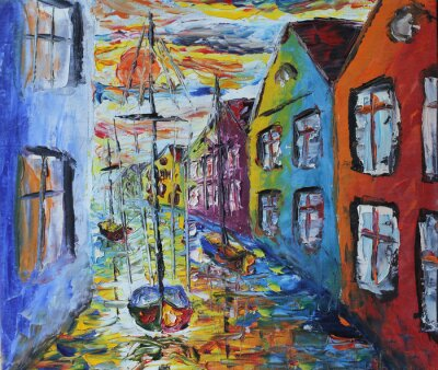 Póster Venecia barco flotando en las calles, pintura al óleo