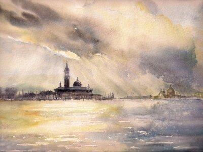 Póster Venecia, Italia en el sunset.Picture creado con acuarelas.