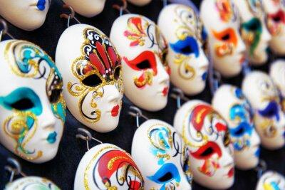 Póster Venecia mascarillas de carnaval en la tienda, Venecia, Italia