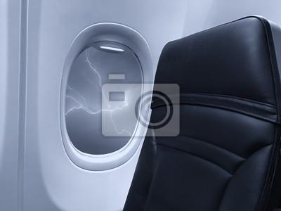 Ventana de avión con vista en un hermoso cielo
